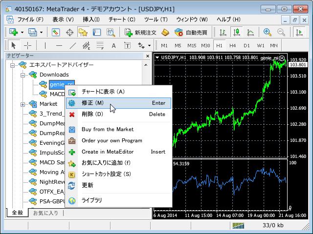 MetaTrader4 エキスパート・アドバイザーの編集